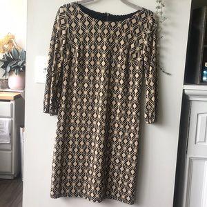 Donna Ricco Gold Geometric Dress
